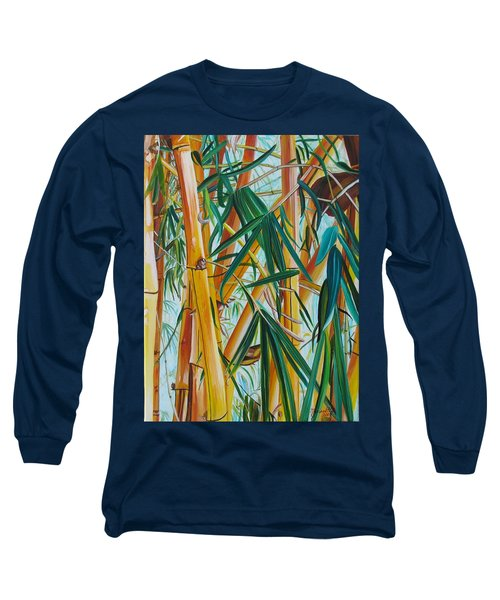 Long Sleeve T-Shirt featuring the painting Yellow Bamboo by Marionette Taboniar