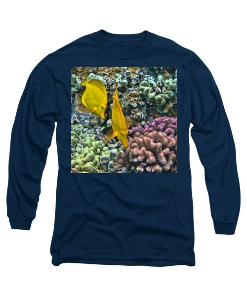 Yellow Tang Pair Long Sleeve T-Shirt by Peggy Hughes