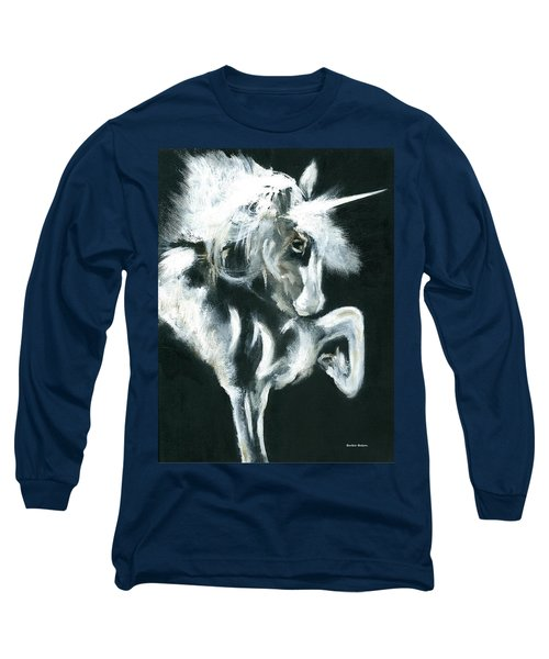 Long Sleeve T-Shirt featuring the painting Unicorn by Barbie Batson