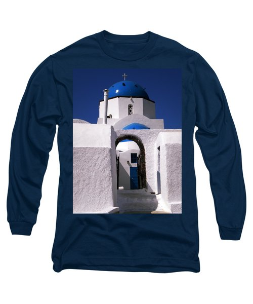 Long Sleeve T-Shirt featuring the photograph Santorini Church Greece by Colette V Hera  Guggenheim