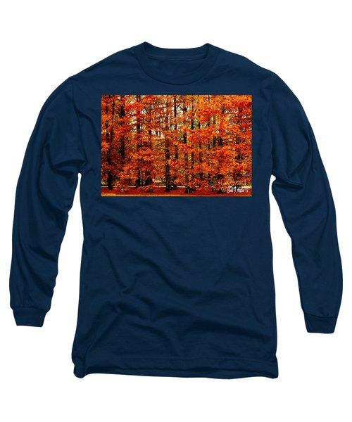 Autumn Red Maple Landscape Long Sleeve T-Shirt by Carol F Austin