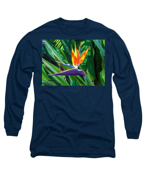Bird-of-paradise Long Sleeve T-Shirt by Mike Robles