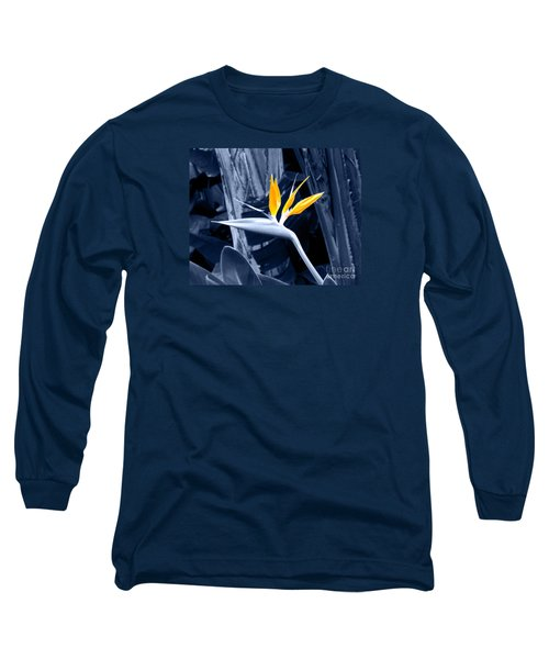 Blue Bird Of Paradise Long Sleeve T-Shirt by Rebecca Margraf