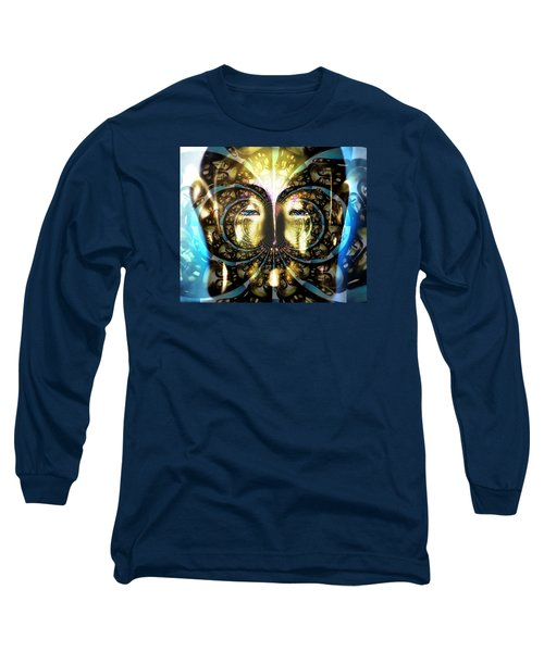 Buddha Blue Mandala Long Sleeve T-Shirt