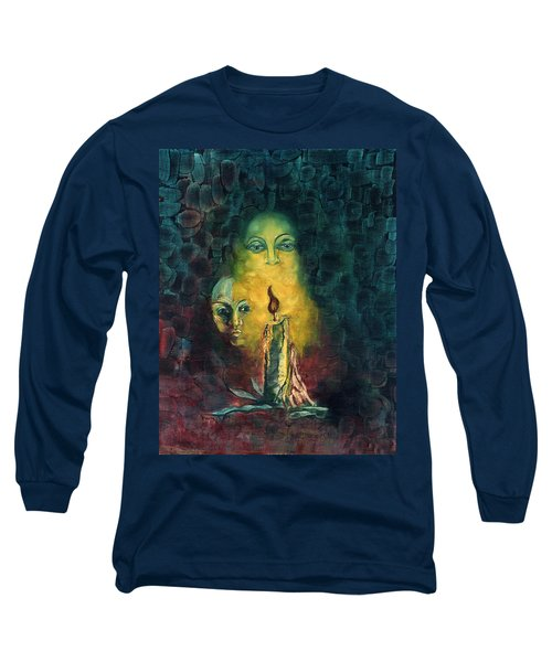 Candle Light Mother Child Faces In Yellow Candle Light Blue Red Background  Long Sleeve T-Shirt by Rachel Hershkovitz