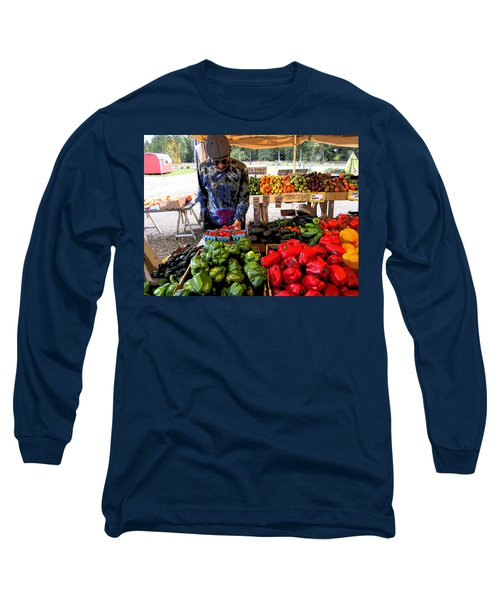 Long Sleeve T-Shirt featuring the photograph Colorful Fruit And Veggie Stand by Kym Backland