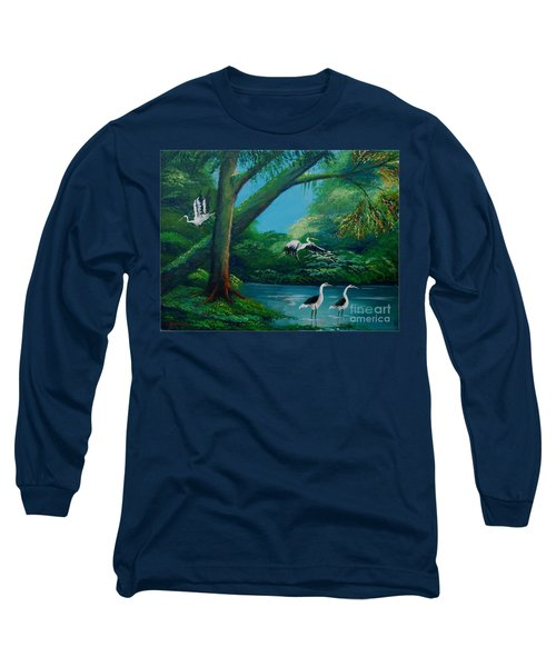 Cranes On The Swamp Long Sleeve T-Shirt