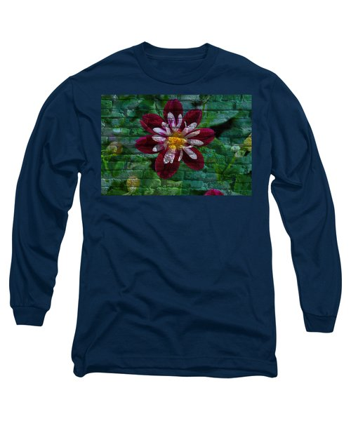 Crazy Flower Over Brick Long Sleeve T-Shirt