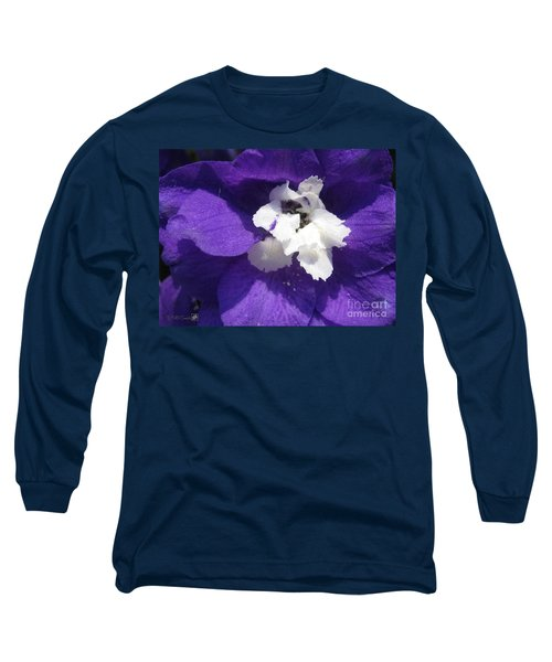 Delphinium Named Blue With White Bee Long Sleeve T-Shirt by J McCombie