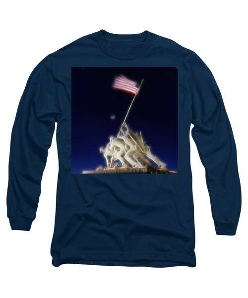 Digital Lightening - Iwo Jima Memorial Long Sleeve T-Shirt