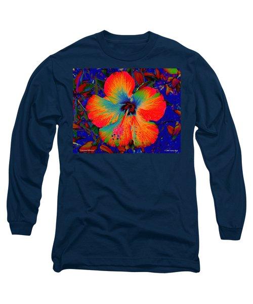 Festonned Hibiscus Long Sleeve T-Shirt