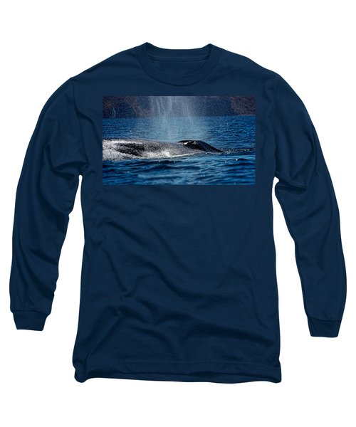Long Sleeve T-Shirt featuring the photograph Fin Whale Spouting by Don Schwartz