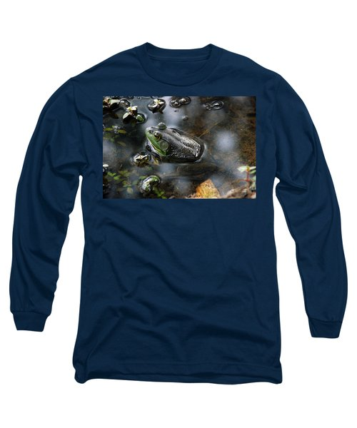 Long Sleeve T-Shirt featuring the photograph Frog In The Millpond by Kay Lovingood