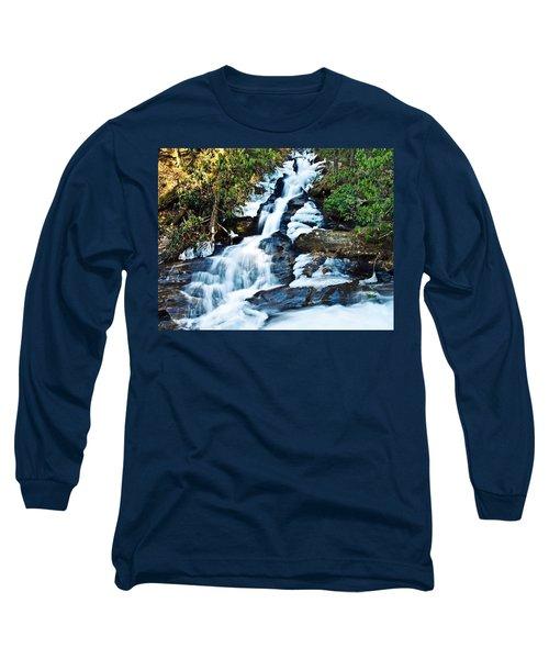 Long Sleeve T-Shirt featuring the photograph Frozen Waterfall by Susan Leggett