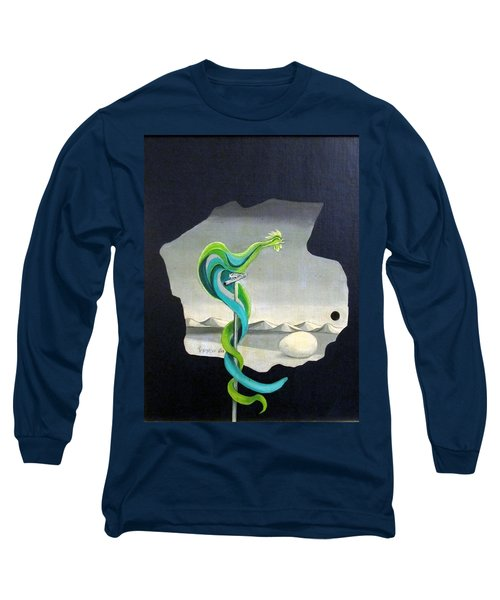 Green Rooster Call 2 In Surrealistic Frame Background Blue Tail Feathers Mountains Landscape And Egg Long Sleeve T-Shirt by Rachel Hershkovitz