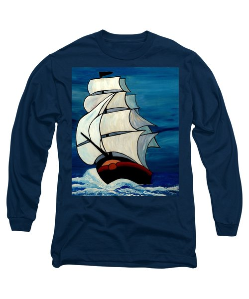 Long Sleeve T-Shirt featuring the painting High Sea by Cynthia Amaral