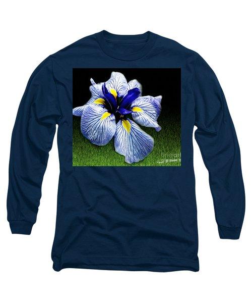 Japanese Iris Ensata - Botanical Wall Art Long Sleeve T-Shirt by Carol F Austin