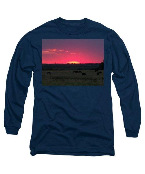 Okie Sunset Long Sleeve T-Shirt by Adam Cornelison