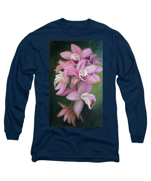 Long Sleeve T-Shirt featuring the painting Orchids by Marlyn Boyd