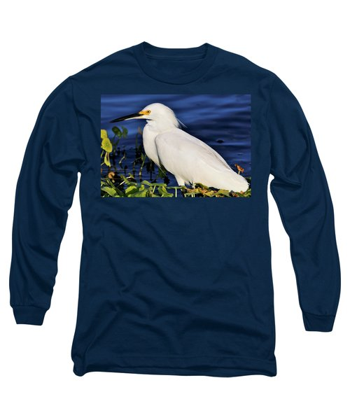 Profile Of A Snowy Egret Long Sleeve T-Shirt