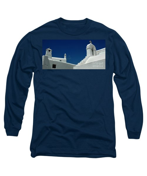 Long Sleeve T-Shirt featuring the photograph Rooftops Of Mykonos by Vivian Christopher
