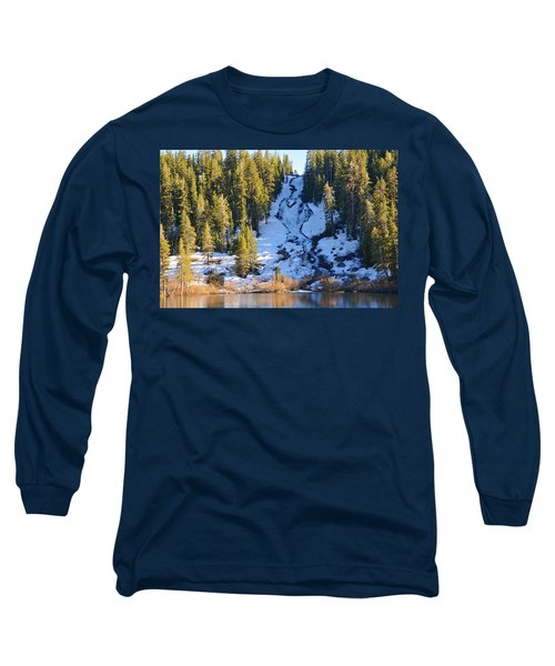 Long Sleeve T-Shirt featuring the photograph Snowy Heart Falls by Lynn Bauer