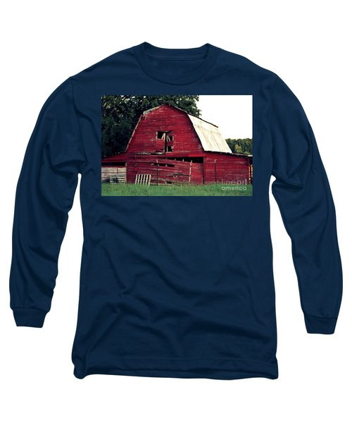 Long Sleeve T-Shirt featuring the photograph The Ole Red Barn by Kathy  White