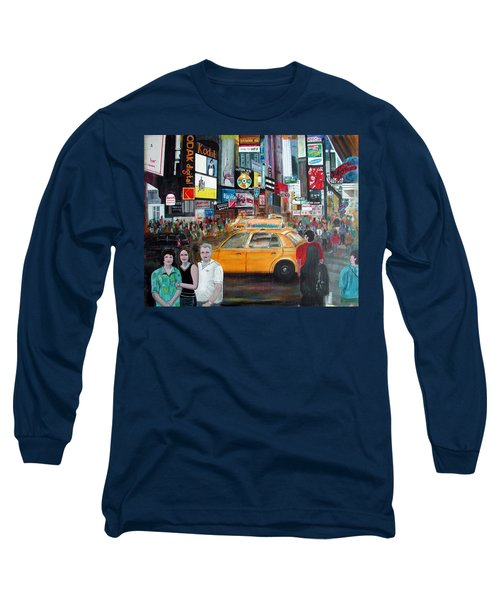 Long Sleeve T-Shirt featuring the painting Times Square by Anna Ruzsan
