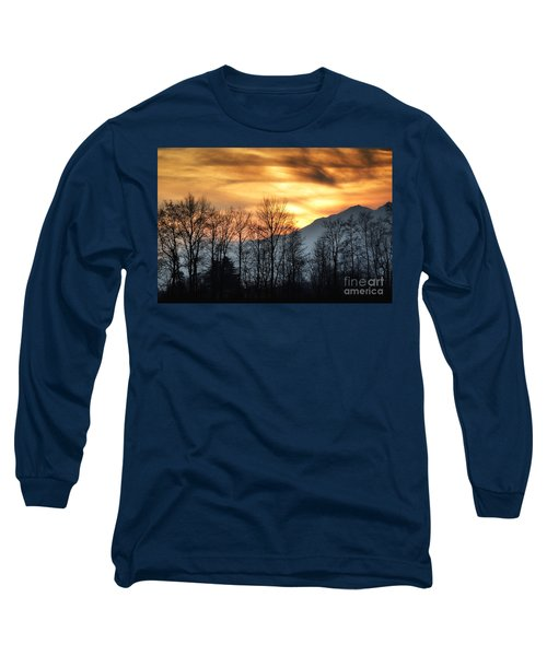 Trees With Orange Sky Long Sleeve T-Shirt