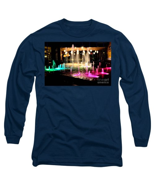 Water Fountain With Stars And Blue Green With Pink Lights Long Sleeve T-Shirt