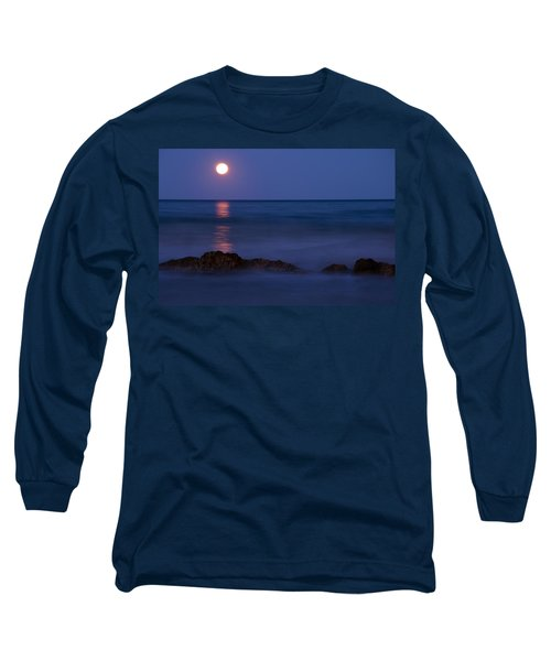 Wells Beach Maine Moonrise Long Sleeve T-Shirt