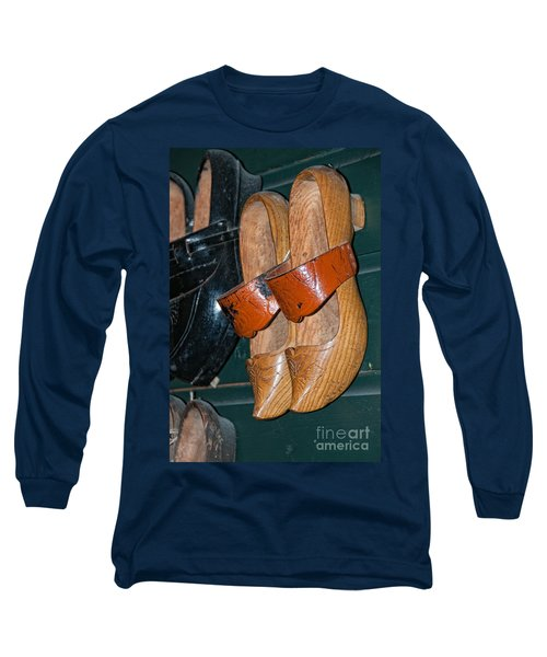 Long Sleeve T-Shirt featuring the digital art Wooden Shoe Sandals by Carol Ailles
