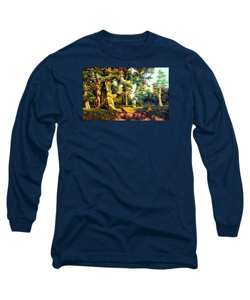 Green Summer-the Oak Forest Long Sleeve T-Shirt by Henryk Gorecki