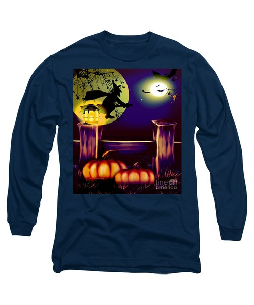 Halloween Witches Moon Bats And Pumpkins Long Sleeve T-Shirt by Annie Zeno