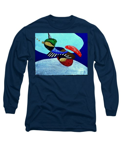 Long Sleeve T-Shirt featuring the painting Abstract Silver by Rod Ismay