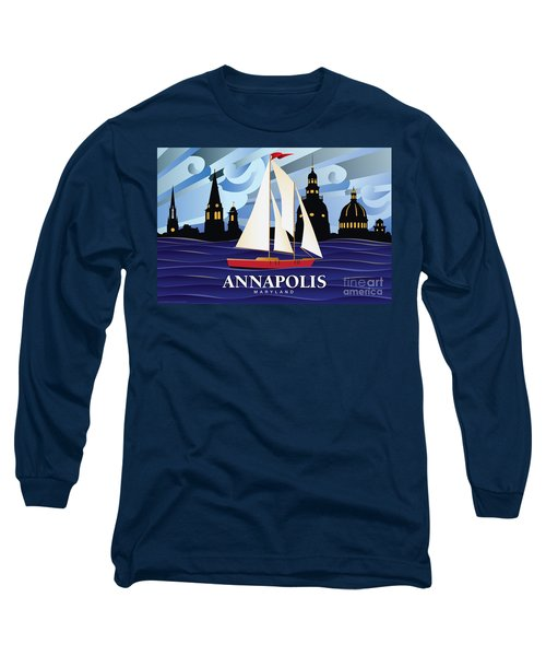 Annapolis Skyline Red Sail Boat Long Sleeve T-Shirt