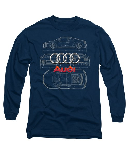 Audi 3 D Badge Over 2016 Audi R 8 Blueprint Long Sleeve T-Shirt by Serge Averbukh