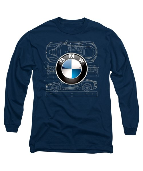 B M W 3 D Badge Over B M W I8 Blueprint  Long Sleeve T-Shirt by Serge Averbukh