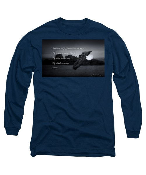 Long Sleeve T-Shirt featuring the photograph Bald Eagle In Flight With Bible Verse by John A Rodriguez