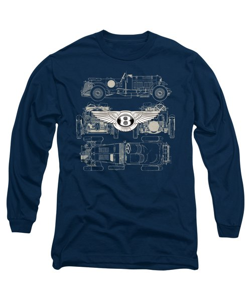 Bentley - 3 D Badge Over 1930 Bentley 4.5 Liter Blower Vintage Blueprint Long Sleeve T-Shirt