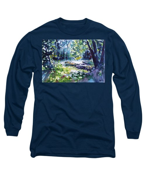 Long Sleeve T-Shirt featuring the painting Boat by Kovacs Anna Brigitta