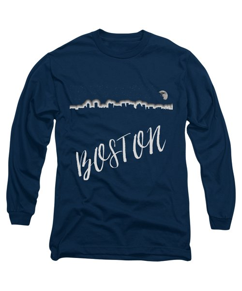 Boston Skyline Poster Long Sleeve T-Shirt