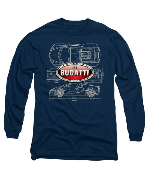 Bugatti 3 D Badge Over Bugatti Veyron Grand Sport Blueprint  Long Sleeve T-Shirt