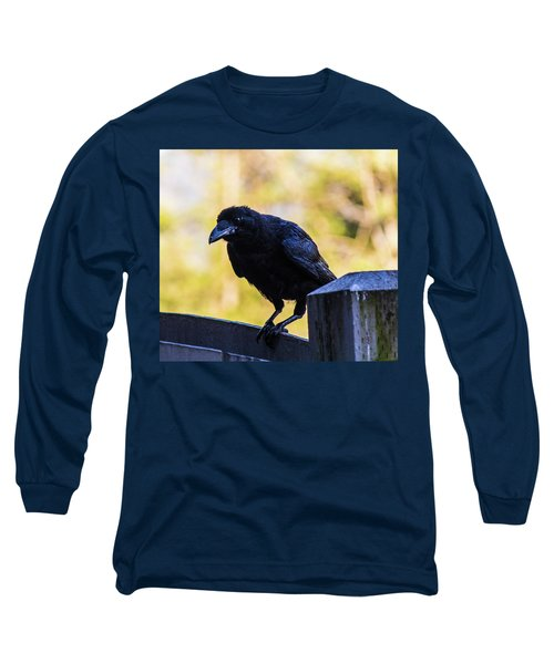 Long Sleeve T-Shirt featuring the photograph Crow Perched by Jonny D