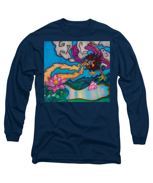 Dragon Heart And Lotus Flower Long Sleeve T-Shirt by Lori Miller