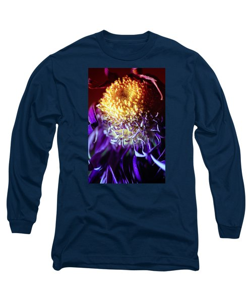 Dying Purple Chrysanthemum Flower Background Long Sleeve T-Shirt by John Williams