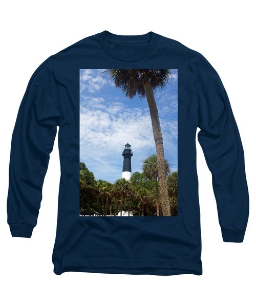 Hunting Island Lighthouse Long Sleeve T-Shirt by Ellen Tully