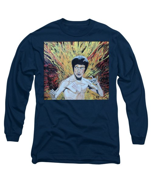 Long Sleeve T-Shirt featuring the painting In The Midst Of The Fire,be Like Water. by Ken Zabel