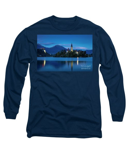 Long Sleeve T-Shirt featuring the photograph Lake Bled Twilight by Brian Jannsen