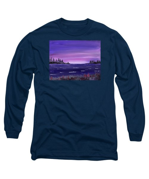 Long Sleeve T-Shirt featuring the painting Lavender Sunrise by Jack G Brauer